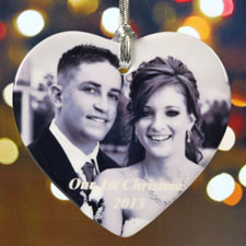 Personalized Photo Sentiments Heart Shaped Ornament