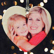 Personalized Precious Memories Photo Heart Shaped Ornament