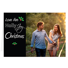 Love are Holly Joy Personalized Christmas Greeting Card