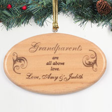 Personalized Engraved All Above Love Wood Ornament