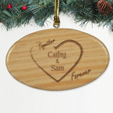 Personalized Engraved Together Forever Wood Ornament