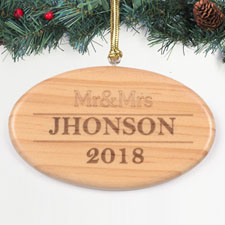Personalized Engraved Mr And Mrs Wood Ornament