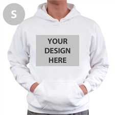 Personalized Custom Full Front No Zipper White Small Size Hoodie