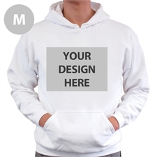 Custom Full Front No Zipper White Medium Size Hoodies