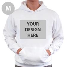 Custom Full Front No Zipper White Medium Size Hoodies