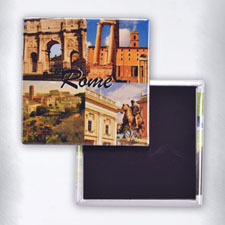 Square Four Collage Square Photo Magnet
