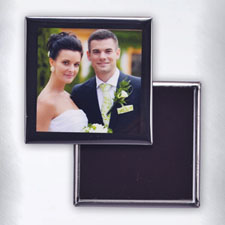 Square Black Frame Square Photo Magnet