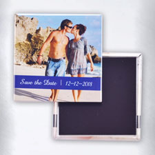 Personalized Photo Blue Text Box Square Photo Magnet