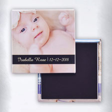 Personalized Photo Black Text Box Square Photo Magnet