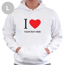 Personalized I Love (Heart) White L Hoodies