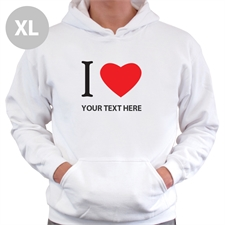 Personalized I Love (Heart) White Extra Large Hoodies