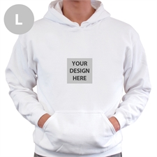 Mini Square Image Custom Hoodie With Kangaroo Pouch White Large Size