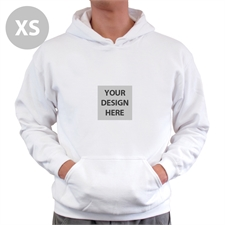 Mini Square Image Custom Hoodie With Kangaroo Pouch White Extra Small Size