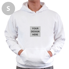 Gildan Mini Square Image Custom Hoodie with Kangaroo Pouch White Small Size