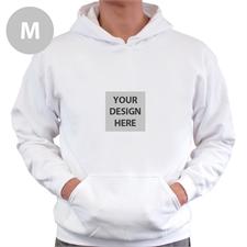 Mini Square Image Custom Hoodie With Kangaroo Pouch White Medium Size