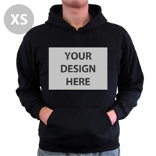 Personalized Hoodies Custom Full Front No Zipper Black Extra Small Size