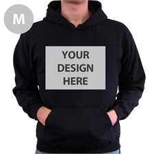 Custom Full Front No Zipper Black Medium Size Hoodies