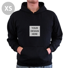 Mini Square Image Custom Hoodie With Kangaroo Pouch Black Extra Small Size