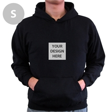 Personalized Mini Square Image Custom Hoodie With Kangaroo Pouch Black Small Size Hoodies