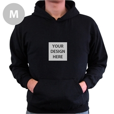 Mini Square Image Custom Hoodie With Kangaroo Pouch Black Medium Size