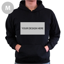 Gildan Custom Landscape Image & Text Black Without Zipper Medium Size Hoodies