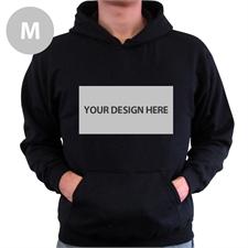 Custom Landscape Image & Text Black Without Zipper Medium Size Hoodies