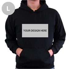 Custom Landscape Image & Text Black Without Zipper Large Size Hoodies