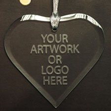 100% Custom Promotional Glass Ornaments with Logo Heart