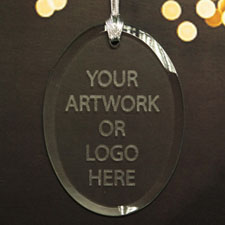 100% Custom Promotional Glass Ornaments with Logo Oval