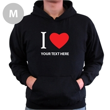 Personalized I Love (Heart) Black Medium Hoodies