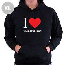 Personalized I Love (Heart) Black Extra Large Hoodies