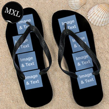 Personalized Flip Flops Eight IMAGES, Men X-Large