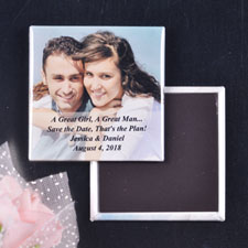 Transparent Overlay Wedding Announcement Square Photo Magnet