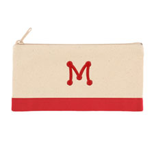 2 Tone Red Personalized Embroidered One Initial Small (Single Side)
