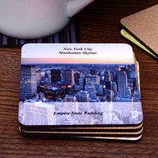 Personalized Photo Transparent Stripe Cork Coaster