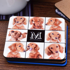 Black Eight Collage Personalized Cork Coaster