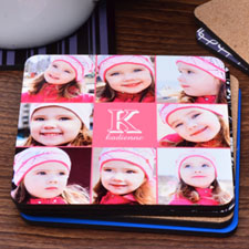 Carol Eight Collage Personalized Cork Coaster