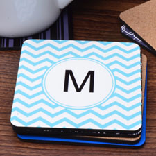 Customized First Initial Aqua Chevron (One Coaster)