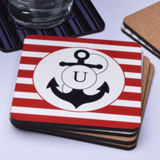 Red Anchor Personalized Cork Coaster
