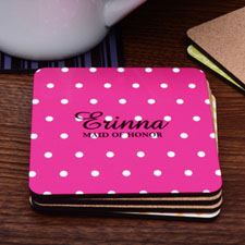 Monogrammed Hot Pink Polka Dots Personalized Cork Coaster