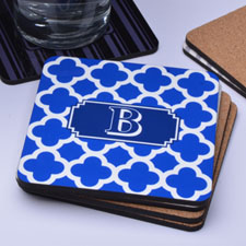 Blue Monogrammed Clover Personalized Cork Coaster