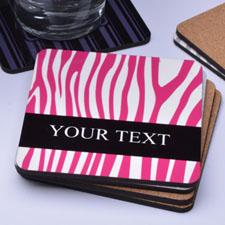 Zebra Print Skin Personalized Name (One Coaster)