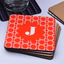 Red Links Personalized Cork Coaster