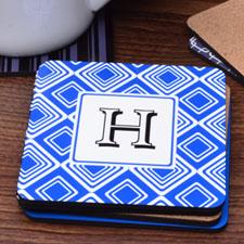 Personalized Monogrammed Blue Diamond (One Coaster)