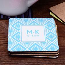 Monogrammed Aqua Diamond Cork Coaster