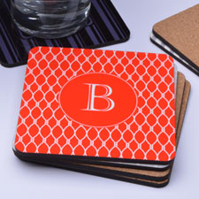 Personalized Red Monogrammed (One Coaster)