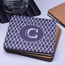 Personalized Grey Monogrammed (One Coaster)