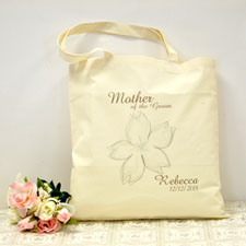 Personalized Wedding Flower Cotton Tote Bag
