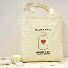 Personalized Red Mason Jar Cotton Tote Bag