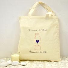 Personalized Wedding Purple Mason Jar Cotton Tote Bag